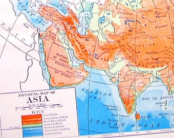 Physical Map of Asia  -  Antique 1910 World Atlas Book Plate - 9 x 7 - TA