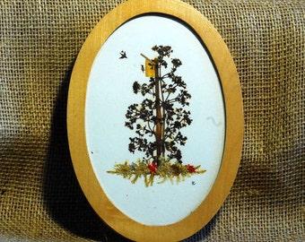 Vintage Tiny Birds Birdhouse Tree Dried Plants Artist Signed East Germany