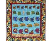 Schools of Scrappy Fish Quilt Pattern, paper pieced quilt patterns, throw quilt patterns, animal patterns, fish patterns, ocean patterns