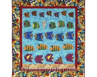 Schools of Scrappy Fish Quilt Pattern, paper pieced quilt patterns, throw quilt patterns, animal patterns, fish patterns, ocean patterns