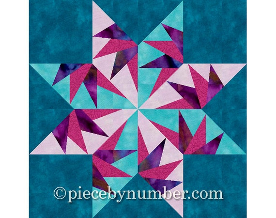 Falcon's Star quilt block pattern, paper piecing quilt patterns, PDF patterns instant download, star quilt patterns, flying swallows block