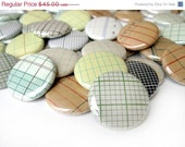 CIJ Sale - CUSTOM ORDER for Rachel - Vintage Graph Paper Pinback Buttons - Assorted Set of 54 Pinbacks