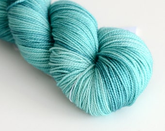 "Hand Dyed Sock Yarn - ""Kelpie"" in Blue and Turquoise - Fingering Weight"