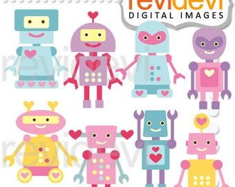 Cute robots clipart pastel colors - Robot clipart, Cliparts Lovely Robots - instant download, commercial use