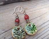Falling- Green Ceramic, Brass and Carnelian Earrings
