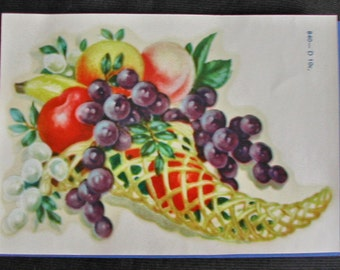 Beautiful Vintage Meyercord Decal-Cornucopia Filled with Fruit
