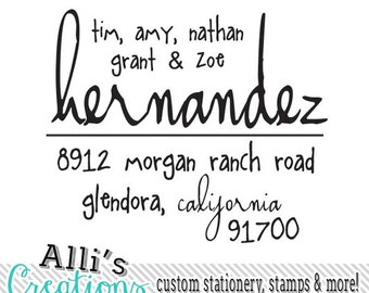 Family Names Return Address Stamp with Whimsical Fonts