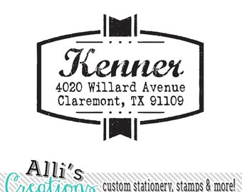 Rustic Return Address Stamp - Self inking unique font stamp