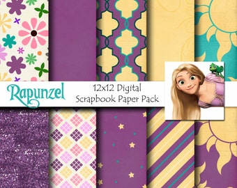 Rapunzel Disney Tangled Inspired 12x12 Digital Paper Pack for Digital Scrapbooking, Party Supplies, etc -INSTANT DOWNLOAD