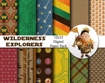 Disney Wilderness Explorers - Up - Inspired 12x12 Digital Paper Pack for Digital Scrapbooking, Party Supplies, Invites - INSTANT DOWNLOAD