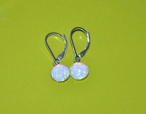 Opal Dangling Earrings, Sterling Silver Earrings ,Sterling Silver Lever Back Earwires, 8mm stone