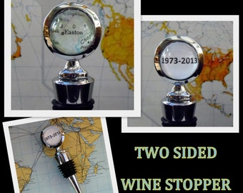 Personalized Custom Map Wine Stop, Two Sided Wine Stopper