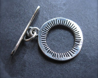 plated Sunscape Toggle Clasp - Solid Sterling Silver plated over white bronze - 15mm - oxidized - textured