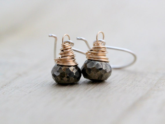 Pyrite Drop Earrings, Sterling Silver & 14K Gold Filled Mixed Metal, Gifts Under 50,