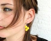 Big Yellow Earrings . Neon Yellow Earrings . Unique Big Earrings . Bright Yellow Earrings Sterling Silver . Big Bold Earrings -Bz Collection