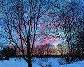 New John Greenleaf Whittier Birthplace Winter Sunset Signed Print by Mister Reusch