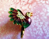Vintage Bird Brooch, Purple and Green Enameled Bird Pin, Rhinestone and Enamel Bird Jewelry
