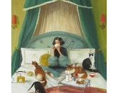 Mademoiselle Mink Breakfasts In Bed.  Art Print