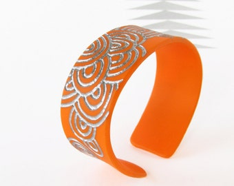 Plexiglass Cuff Bracelet, Bright Orange, Modern Plexi Jewelry, Scales Bracelet, Size Small to Medium