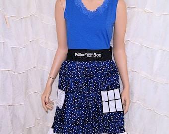 Doctor Blue Police Box Stars Summer Pocket Dress Cosplay Costume Adult Medium / Large MTCoffinz- Ready to Ship