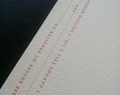 "Mad Lib, ""Please excuse my behavior..."" Letterpress Flat Card"