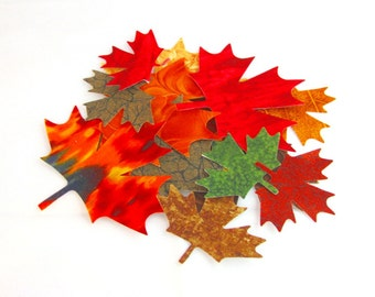 Diecut MAPLE LEAVES, diy,  Leaf Appliques, cotton, assorted, Fused, TEMPORARY Iron on, 16 gorgeous Maple leaves