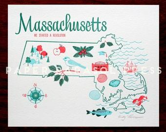 Massachusetts State Letterpress Print 8x10
