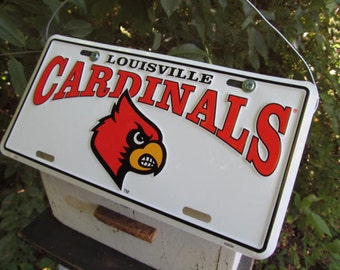 Louisville Cardinals License Plate  Football  Birdhouse White Fully Functional