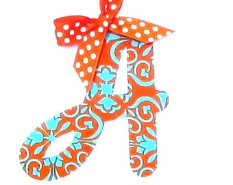 Cursive Letter...Fabric Iron On Applique...You Choose Your Own Letter...Ribbon Included