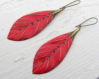 Red earrings, long Leaf earrings,  metal feather dangle earrings,  Boho Bohemian jewelry Summer trends