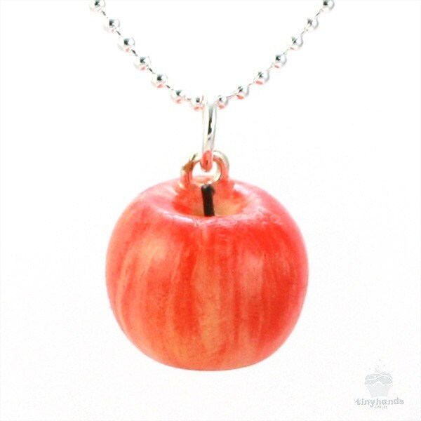 Food jewelry scented apple necklace delicious polymer clay for How to make scented jewelry