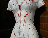 CRAZY NURSE zombie costume blood splatter ASYLUM dress halloween sexy vampire