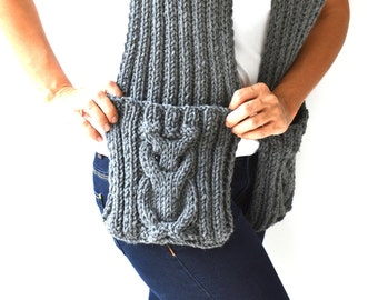 Dark Gray Owl Scarf  With Pockets by Afra