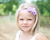 Purple Baby Girl Headband - Lavender Headband - Flower Girl Headband - Ruffle hairpiece - Girls Headband  - Baby Headbands -  Newborn