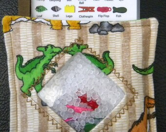 I Spy Bag - Mini with SEWN Word List and Detachable PICTURE LIST- Dinosaur Days