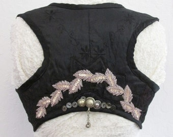 LARGE Vest Under Bust Black Lace Overlay Tribal Belly Dance Folkloric Gypsy Boho  Burlesque Steampunk Embellish  ed