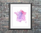 France watercolor typogra...