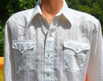 vintage 70s western shirt cowboy white plaid PANHANDLE slim pearl snaps fancy shiny XL Large rockstar rodeo