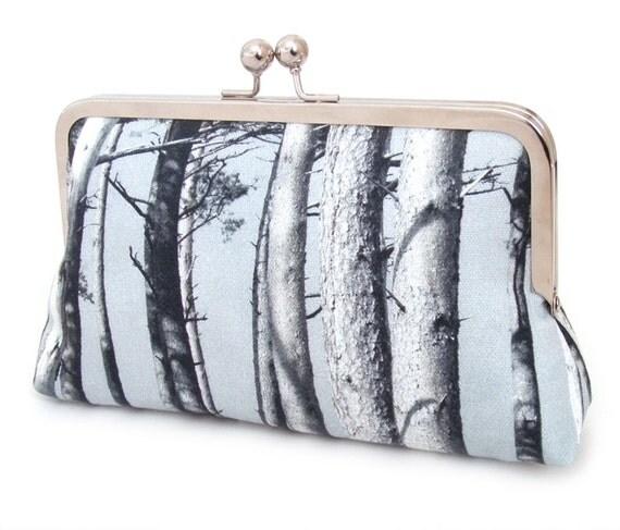 Clutch bag, tree purse, woodland wedding, bridesmaid gift, SCOTS PINE