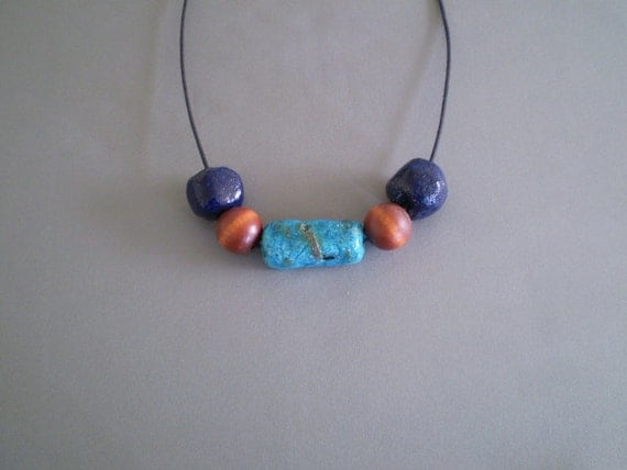 Faience or Egyptian Paste & Wood Beads 23-inch Necklace
