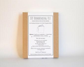 Orange & Grey DIY Bookbinding Kit, Make 2 Basic Soft Cover Notebooks plus 1 Mini Book