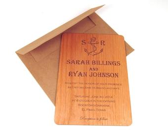Anchor Wooden Wedding Invitation - Real Wood - Nautical Themed Wedding Invitation