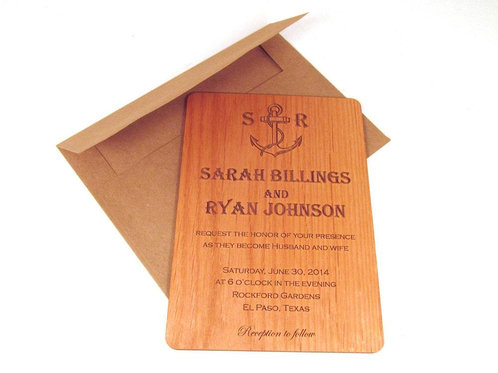 anker hölzerne hochzeit einladung echtholz nautische, Einladung