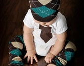 Around the Town BROWN Argyle - KOOL KID Arm / Leg Warmers for Baby, Toddler, Child, Tween Boy or Girl - Fun and Functional Fashion