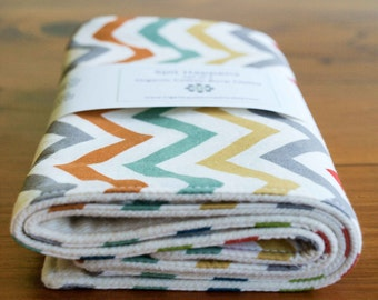 Modern Organic Burp Cloths, Set of Two in BRIGHT CHEVRONS, Colorful Striped Burp Pad Gift Set for Newborn Baby Boys and Girls, Organic Baby