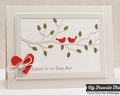 Hand Stamped Greeting Card - Love is in the Air