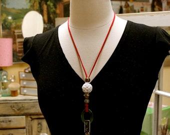 Red white green beaded id badge holder / eye glass holder / necklace breakaway  FREE SHIPPING