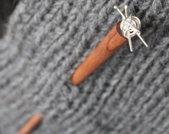 Knit me somethin' shawl pin - hair stick, knitting pin, for the love of knitting, gift for knitter, vera wood