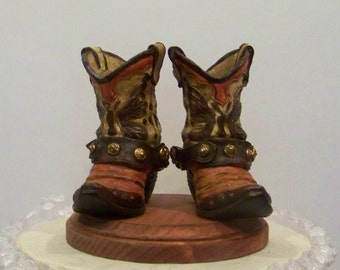Rustic Grooms Wedding Cake Topper-Pair of Western Cowboy Boots-Birthday Cake Topper