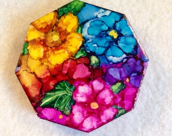 Colorful Flower Magnet Octagon Tile AIArt